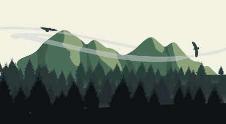 Illustration pour Beautiful minimalistic mountain view landscape with flying birds on sunset. - image libre de droit