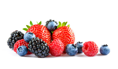 Photo for Big Pile of Fresh Berries on the White Background. Ripe Sweet Strawberry, Raspberry, Blueberry, Blackberry - Royalty Free Image