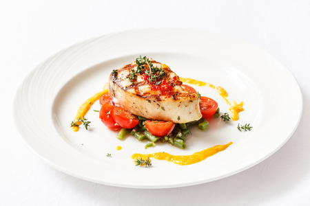Photo for fish steak with vegetables - Royalty Free Image