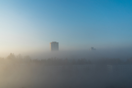 Photo for city at misty sunrise - Royalty Free Image