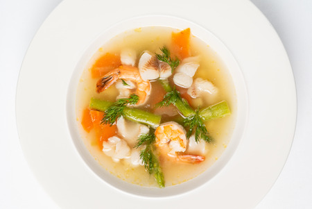 Photo for Seafood soup isolated on the white - Royalty Free Image