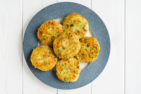 vegetarian cutlets from carrot, zucchini, potato