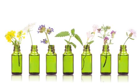 Foto de Natural remedies, aromatherapy - bottle. Bottles of essential oil with herbs holy flower. - Imagen libre de derechos