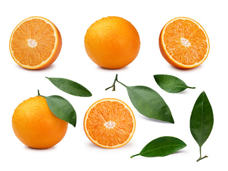 Photo for Set of whole and halved oranges with  leaves. Infinite depth of field  - Royalty Free Image