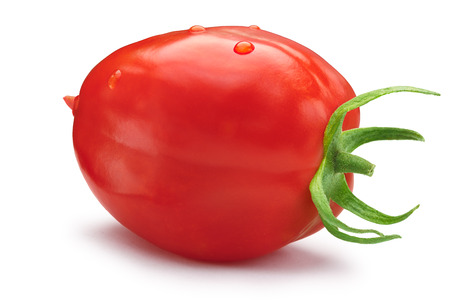 Fresh plum-like ripe red, oblong tomato with sepal.