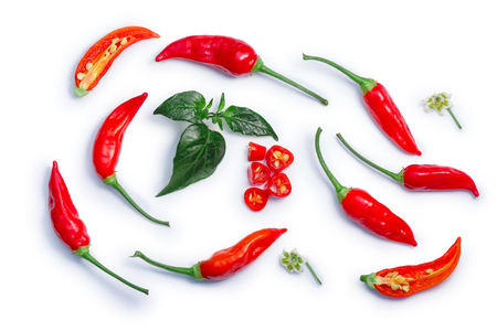 Photo for Aji Brazilian Bonanza pepper (C. baccatum), pods, diced, split, leaves, flowers. - Royalty Free Image