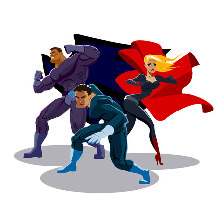 Illustration pour Superhero team. Look around. Stand in readiness - image libre de droit