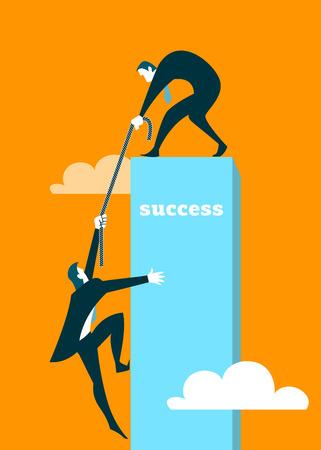 Illustration pour The businessman helps the partner to get on a pedestal - image libre de droit