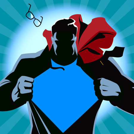 Ilustración de Superman tearing his shirt. Vector illustration. Silhouette - Imagen libre de derechos