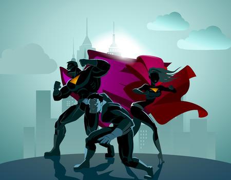 Illustrazione per Superhero Team; Team of superheroes, posing in front of a light. - Immagini Royalty Free