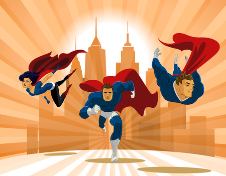 Ilustración de Superhero Team; Team of superheroes, flying and running in front of a urban background. - Imagen libre de derechos