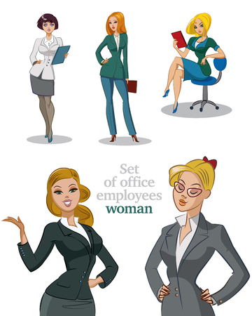 Illustration for Young office workers. Businesswomans. Womans set. Isolated illustration. - Royalty Free Image