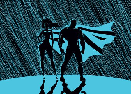 Ilustración de Superhero Couple: Male and female superheroes, posing in front of a light. Rain background. - Imagen libre de derechos