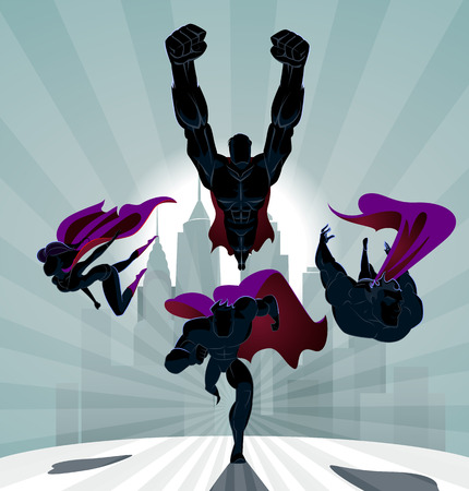 Illustrazione per Superhero Team; Team of superheroes, flying and running in front of a urban background. - Immagini Royalty Free