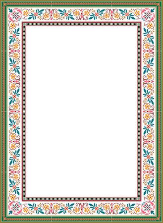 Ilustración de floral ornament border frame, colored - Imagen libre de derechos