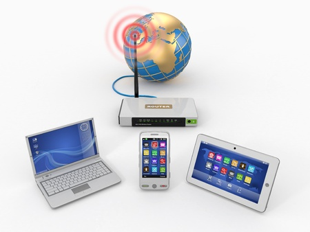 Photo for Home wifi network. Internet via router on phone, laptop and tablet pc. 3d - Royalty Free Image