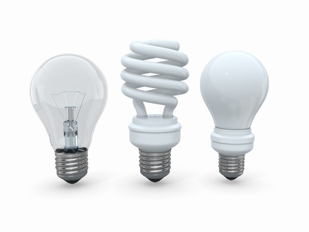 Three types of lamp bulbs on white background  3d