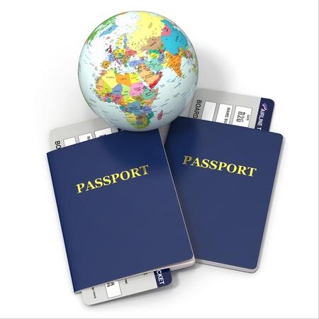 Foto de World travel  Earth, airline tickets and passport on white background  3d - Imagen libre de derechos