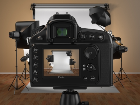 Photo for Digital photo camera in studio with soft box and flashes - Royalty Free Image