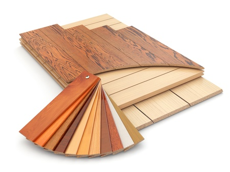 Photo pour Installing laminate floor and wood samples. 3d - image libre de droit