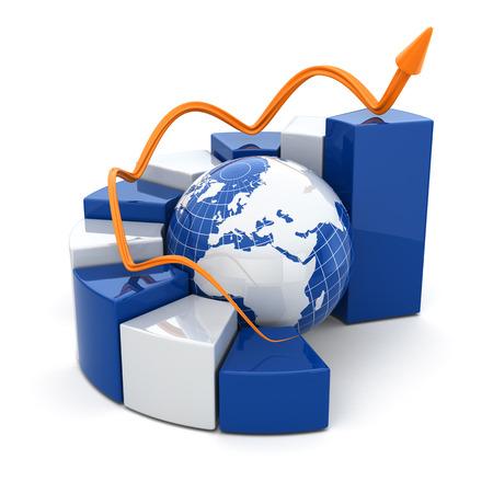 Foto de Global business graph on white isolated background. 3d - Imagen libre de derechos