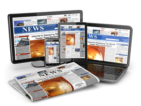 Photo pour News. Media concept. Laptop, tablet pc, phone and newspaper. 3d - image libre de droit