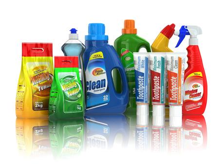Foto de Cleaning supplies. Household chemical detergent bottles on white isolated background. - Imagen libre de derechos