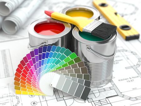 Photo for Cans of paint with colour palette and paintbrush. 3d - Royalty Free Image