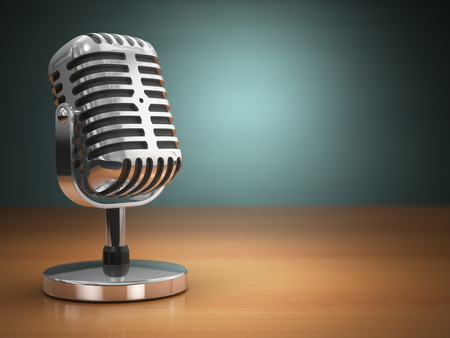 Photo for Vintage microphone on green background. Retro style. 3d - Royalty Free Image