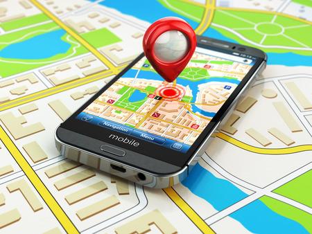 Photo pour Mobile GPS navigation concept. Smartphone on map of the city, 3d - image libre de droit