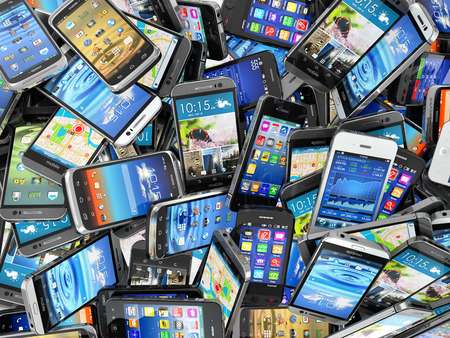 Photo for Mobile phones background. Pile of different modern smartphones. 3d - Royalty Free Image