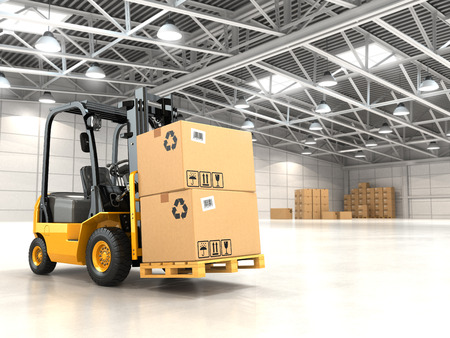 Photo for Forklift truck in warehouse or storage loading cardboard boxes. 3d - Royalty Free Image