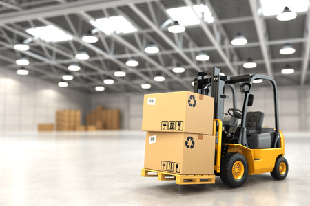 Photo pour Forklift truck in warehouse or storage loading cardboard boxes. 3d - image libre de droit
