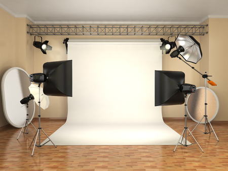 Photo for Photo studio with lighting equipment. Flashes, softboxes and reflectors. 3d - Royalty Free Image