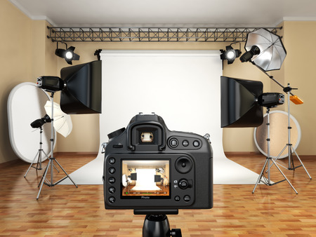 Photo for DSLR camera in photo studio with lighting equipment, softbox and flashes. 3d - Royalty Free Image