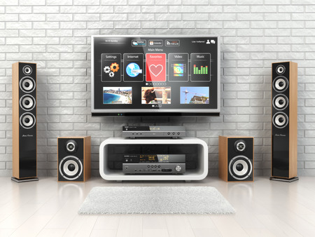 Photo for Home cinemar system. TV,  oudspeakers, player and receiver  in the room. 3d - Royalty Free Image