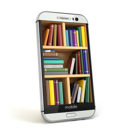 Foto de E-learning education or internet library concept. Smartphone and books. 3d - Imagen libre de derechos