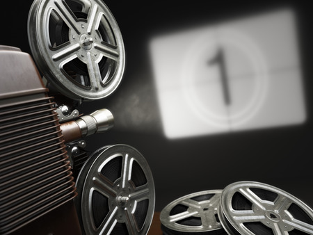 Photo for Cinema, movie or video concept. Vintage projector with projecting blank and reels of film. 3d - Royalty Free Image