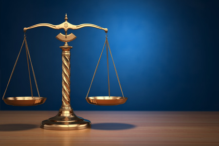 Photo pour Concept of justice. Law scales on blue background. 3d - image libre de droit