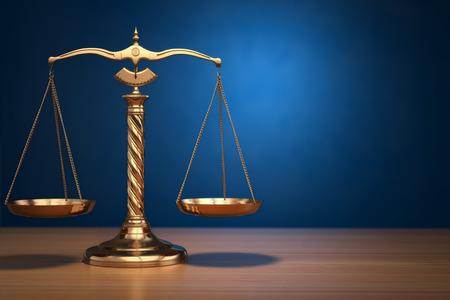 Foto de Concept of justice. Law scales on blue background. 3d - Imagen libre de derechos