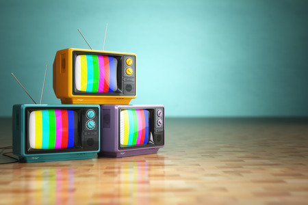 Foto de Vintage television concept. Stack of retro tv set on green background. 3d - Imagen libre de derechos