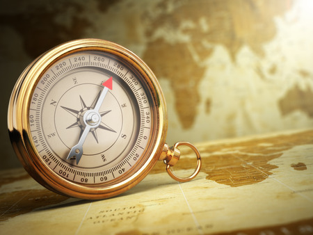 Foto de Vintage compass on the old world map. Travel concept. 3d - Imagen libre de derechos