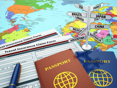 Foto de Travel insurance application form, passport and sign of destination on the map. DOF effect. 3d - Imagen libre de derechos