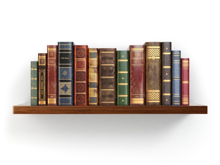 Photo pour Vintage old books on shelf isolated on white. 3d - image libre de droit