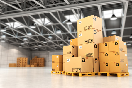 Photo pour Delivery concept. Boxes on pallet in the warehouse. 3d - image libre de droit