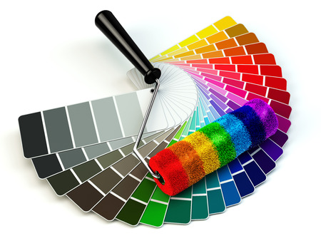 Photo pour Roller brush and color guide palette in rainbow colors. 3d - image libre de droit