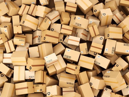Foto de Stack of cardboard delivery boxes or parcels. Warehouse concept background. 3d - Imagen libre de derechos