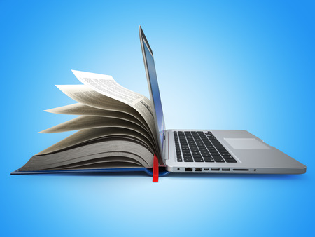Photo pour E-learning. Concept of education. Internet labrary. Book and Laptop. 3d - image libre de droit
