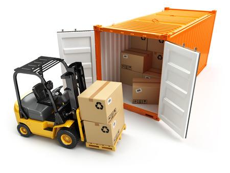 Foto de Forklift handling the cargo shipping container box. 3d - Imagen libre de derechos