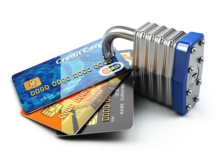 Photo pour Secure payment internet online shopping concept.. Credit cards and padlock. 3d - image libre de droit